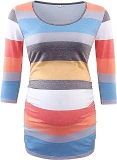 BBHoping 女士侧褶七分袖孕妇低圆领 T 恤上衣孕妇衣服