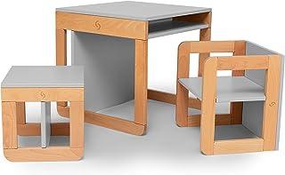 Skiddou 桌,儿童椅,木制套装,8合1多功能家具套装,可调节椅子,凳子,椅子,桌子,书桌,书架,灰色
