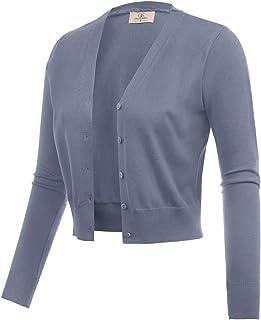 GRACE KARIN 女式前开襟针织短款短披肩开衫毛衣长袖 (S-4XL)