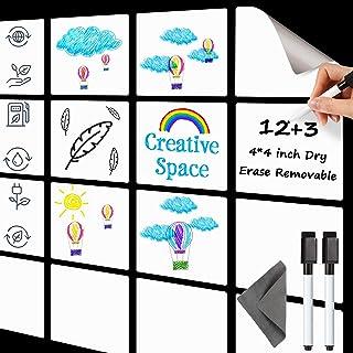 可重复使用的干擦胶贴 4 x 4 英寸(约 10.2 x 10.1 厘米)白色纸板贴纸 湿擦自粘标签 带 2 个记号笔和 1 块清洁布,适用于办公室家庭(15 件)