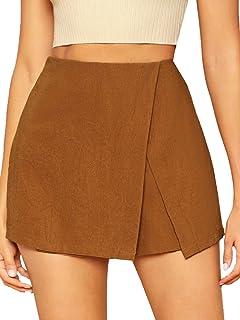WDIRARA 女式休闲中腰拉链后开叉夏季纯色裹身短裤