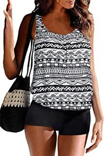 BIKINX 女式坦基尼泳衣,适度泳衣,两件式收腹背心,带平角短裤