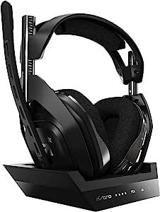 ASTRO Gaming A50 无线耳机 4代基座 带有杜比音频/杜比全景声(与PS4,PC,Mac兼容),黑色/银色
