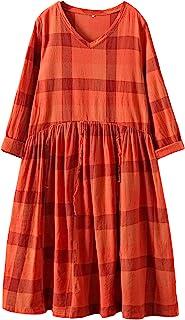 Mordenmiss 女士新款休闲刺绣连衣裙带口袋