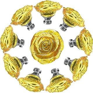EleCharm 旋钮,10 件 50 毫米颜色透明水晶玫瑰衣柜橱柜门把手拉手橱柜五金家具装饰(黄色)
