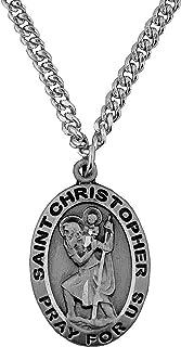 纯锡圣克里斯托弗 Patron 旅行者圣徒 摩托车手 吊坠 2.54 X 1.59 cm 随附 60.96 cm 不锈钢重锁链