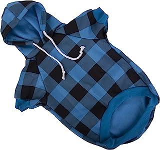 Hozz 狗狗衣服黑色水牛格子时尚狗狗连帽衫运动衫黑色 M 码