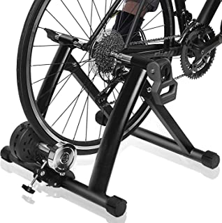 DRMOIS 自行车训练支架 – 便携式不锈钢室内锻炼自行车训练器磁性飞轮,公路和山地自行车的固定自行车阻力训练器