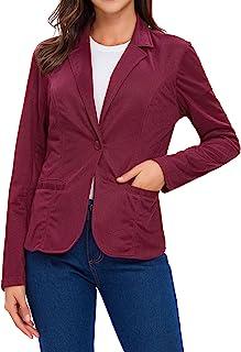 女式 Blazers 长袖缺口翻领单扣工作办公室西装外套西装口袋
