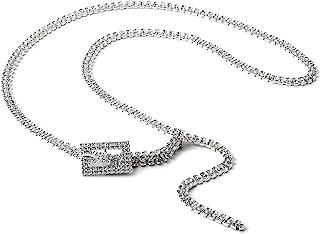 Topwholesalejewel 银色 106.68 cm 水钻双线皮带,带小矩形扣