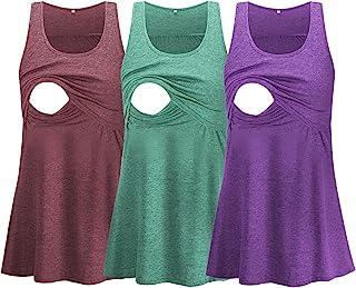 Glampunch 孕妇护理上衣无袖舒适哺乳背心 T 恤孕妇 T 恤, Z 型酒红色 / * / 紫色, 大