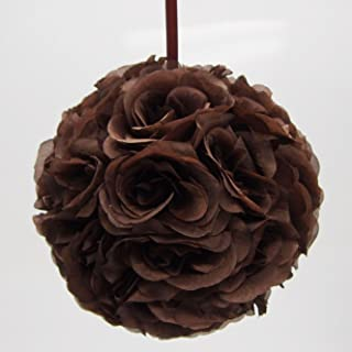 Firefly Imports Flower Kissing Balls Pomander Pom Pom Wedding Centerpiece, Brown