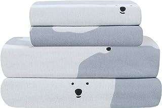 Universal Home Fashions 北极熊 4 件套法兰绒床单套件 King 188.22 x 203.20 厘米,北极熊印花,15822
