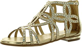 JJF Shoes 女童镂空水钻角斗士系带礼服凉鞋