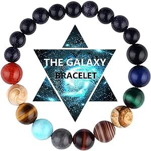 Vlinsha Chakra 手链,太阳系银河行星*舒缓宝石远距离友谊手工串珠手链男女情侣礼物