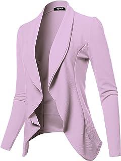 SSOULM 女式长袖经典垂褶前开轻质运动夹克 (XS-3XL)