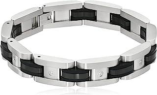 男士不锈钢双色黑色 0.10 克拉钻石手链,20.96 cm