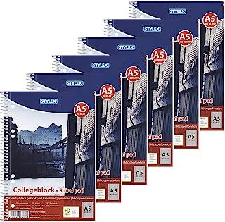 Stylex 43887-P6-6 x 练习簿 螺旋 方格 DIN A5 80 页 60 克 / 平方米 纸张