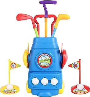 BEEYEO 儿童高尔夫球杆套装 – 带轮子的高尔夫球车、3 个彩色高尔夫球杆、3 个球和 2 个练习孔 – 男孩和女孩的趣味青年高尔夫球运动员运动玩具套件 – 促进身体和心理发展