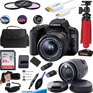 佳能 EOS 200D 相机带 EF-S 18-55 毫米镜头(黑色) - Expo 高级配件包