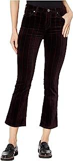 AG Adriano Goldschmied 女式 Jodi 高腰修身喇叭腿露脐天鹅绒印花长裤