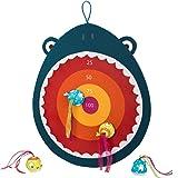 B. toys – 饥饿的抛掷鲨鱼玩具 – 儿童飞镖板 – 1 个布板和 4 个软飞镖适合 3 岁以上儿童(5 件)