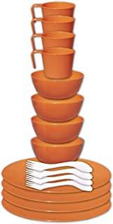 gear4U 野营餐具套装 – 户外餐具带网眼携带袋 – 不含 BPA – 盘子、碗、杯子和餐具,适用于徒步、露营、背包、旅行和户外生存。