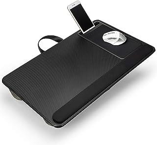 笔记本电脑膝上桌,家庭办公室笔记本电脑桌,适用于带鼠标垫的床沙发、腕托和手机支架 - 适合 17 英寸笔记本电脑 - 黑色
