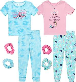 Rene Rofe 女婴睡衣 - 4 件套舒适修身短袖 T 恤和*运动裤睡衣套装带弹力(婴儿/幼儿)