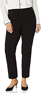 SLIM-SATION 女式加大码侧弹性腰纯色加厚 Ponte 长裤