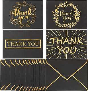 A7 信封和感谢卡 24 套 A7 邀请信封和匹配 5 x 7 平金卡,用于婚礼、邀请函、生日、毕业典礼、迎婴派对(黑色)
