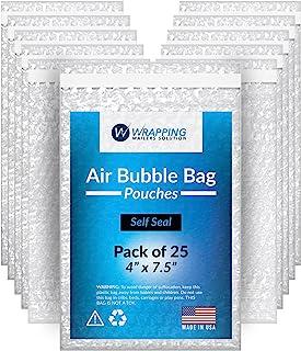 泡泡袋 4X7.5 - 透明袋 - 气泡袋 - 自封袋,运输 - 包装-邮寄 - 由 Wrapping Mailers Solutions 出品。美国制造(4X7.5 / 25 包)