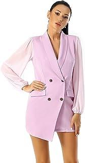 独特的 21 码女式不对称西装连衣裙 - 女式优雅领口网眼长袖西装连衣裙