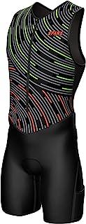 Sparx X 铁人三项套装男式赛车三项骑行皮肤套装自行车游泳跑步(霓虹灯旋涡,S 码)