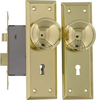 Ultra Security 44609 旧时光榫眼锁带骨架钥匙,镀黄铜饰面,可替代 1900 年代早期的大多数榫眼内部锁