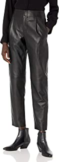 Vince 女式皮革锥形裤,黑色,0