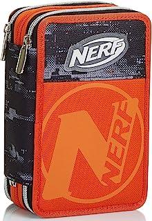 3 格铅笔盒,Nerf Nation Unica,黑色和橙色,铅笔盒带学校内容