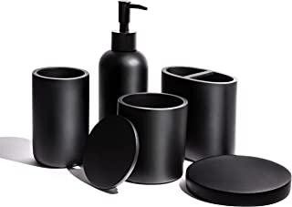 高级哑光黑色浴室配件套装 - 酒店品质100% 树脂 - *,适合儿童使用完整必需品洗手液分配器,盘子,牙刷架,棉罐和平底杯