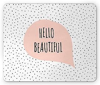 Ambesonne Hello Mouse Pad,浪漫和激励信息,柔和的语音气球手绘点子,矩形防滑橡胶鼠标,标准尺寸,腮红黑色
