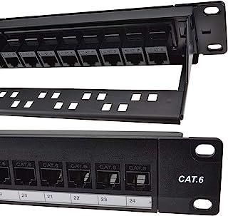 Detroit Packing Co. 24 端口 CAT6 RJ45 通过耦合器接线板,带后条、壁挂式或机架式,兼容 Cat5、Cat5e、Cat6、Cat6A、UTP STP 电缆(CAT6 未屏蔽,24 端口)