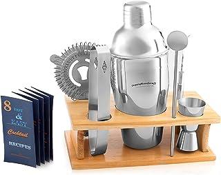 Cocktail Shaker Martini 摇摇椅套装 - *吧配件:饮料摇瓶、慢跑、饮料搅拌机、吸水器、冰钳、开瓶器、木质立式礼品盒和鸡尾*晚宴 ShoppingHandicraft