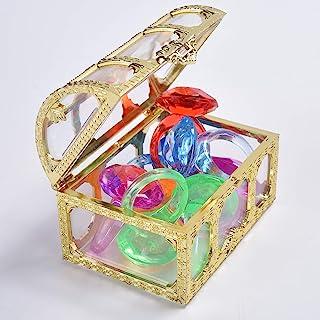 潜水宝石泳池玩具彩色钻石戒指套装带宝藏海盗盒夏季游泳宝石潜水玩具套装潜水投掷玩具套装水下游泳玩具适用于泳池使用珍宝礼品套装(金色)