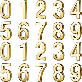 20 件邮箱数字 0 - 9 个地址号码自粘门数字反光邮箱号码(3 英寸,金色)