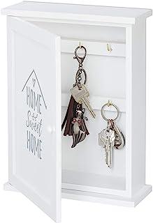 Relaxdays 木制钥匙盒,甜蜜家庭印花,乡间别墅风格,用于悬挂,橱柜高宽深 29 x 22 x 8厘米,白色
