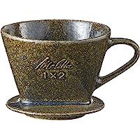 Merita Melitta 咖啡 滴滤杯 陶器制 日本制造 附带量匙 2~4杯用 紫藤长轮 SF-P-G1×2