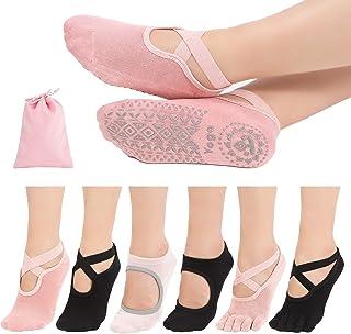 LINLILO 6 双装女士防滑瑜伽袜 & 全脚袜 女式 带抓地力 适用于普拉提、芭蕾舞、舞蹈、健身。