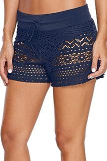 女式泳衣短裤侧开叉腰带蕾丝泳裤比基尼沙滩裤加大码 S-3XL