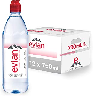 evian Natural Spring Water Individual 750 ml (25.4 oz.) Bottle with Sport Cap Naturally Filtered Spring Water pack of 12, ...