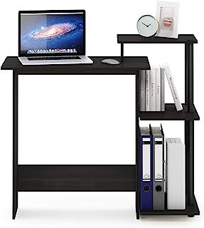 FURINNO *家用笔记本电脑电脑桌,方形侧架,深咖啡色/黑色