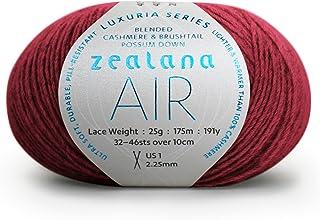 Zealana 25 克 40% Brushtail Possum Down 40% 羊绒 20% 桑蚕丝透气蕾丝纱线,亮金_P Tuscan 红色 0641752968714